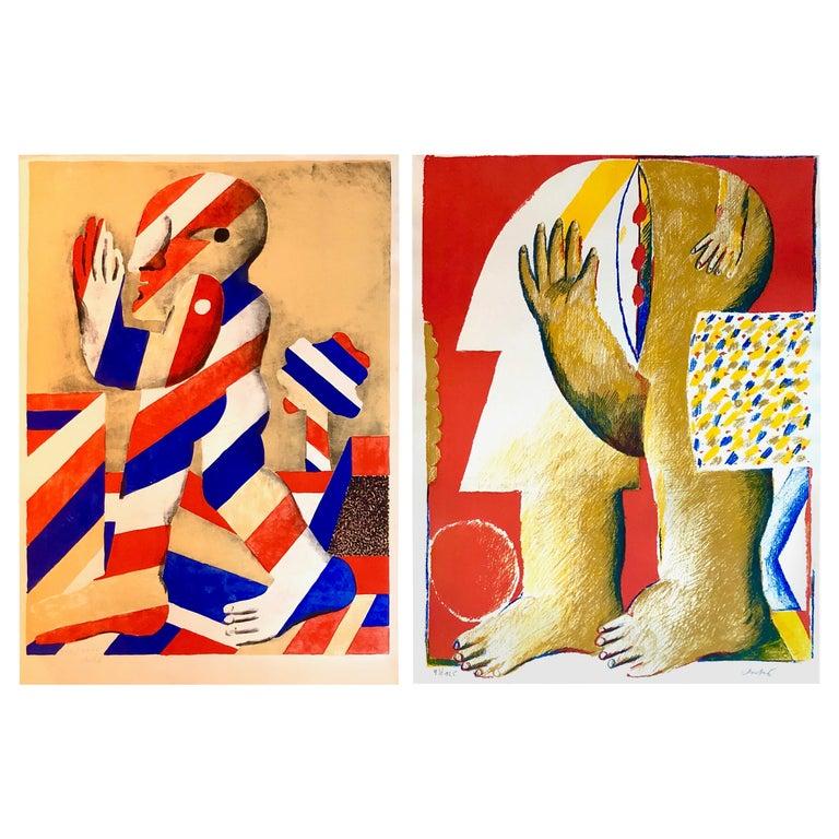 2 Horst Antes Color Lithographs, circa 1968 For Sale