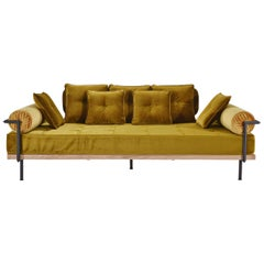 2 in 1 Sofa and Double Daybed, with Brass Frame by P. Tendercool