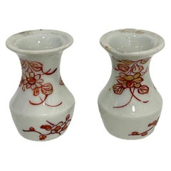 2 Iron-Red and Gilt Chinese Miniature Porcelain Vases, Kangxi