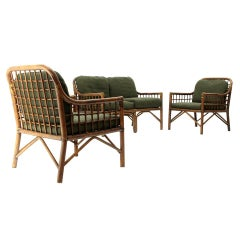 2 Italian Armchairs and Sofa in Woven Rattan and Green Fabric, 1970s