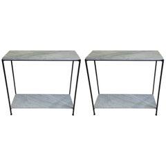 2 Italian Iron & Marble Minimalist Consoles/ Sofa Tables, Attr. Antonio Citterio