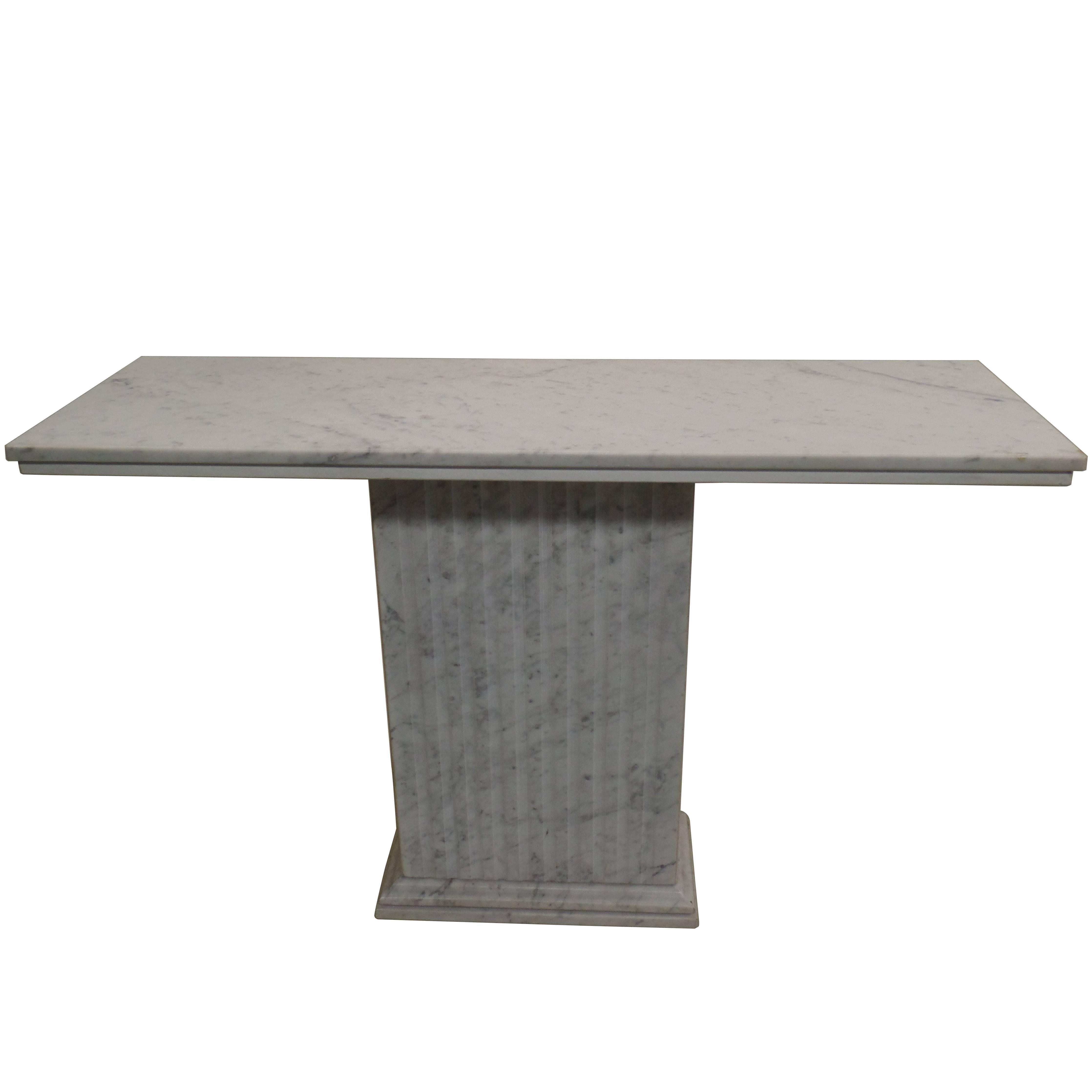 2 Italian Mid-Century Modern Carrara Marble Consoles /Sofa Tables Marcel Breuer