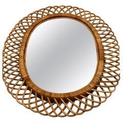 2 Italian Mid-Century Modern Rattan and Bamboo Wall Mirrors, Franco Albini