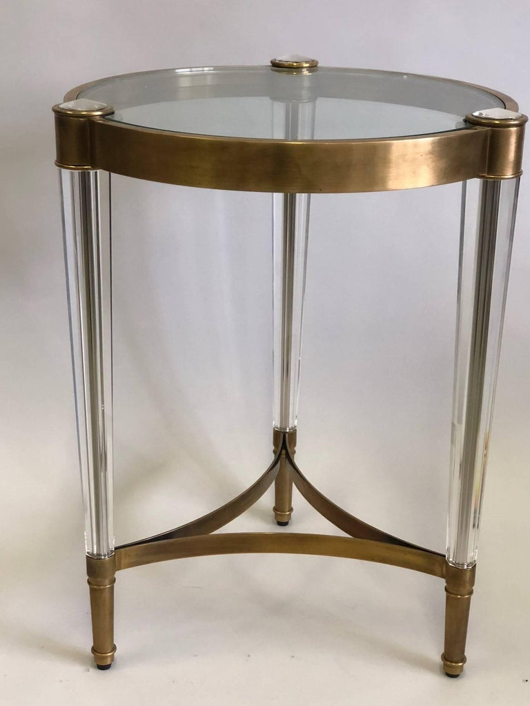 Mid-Century Modern 2 Italian Mid-Century Style Solid Brass & Crystal Side Tables, Baccarat For Sale