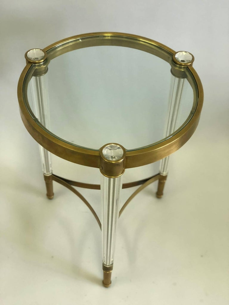 20th Century 2 Italian Mid-Century Style Solid Brass & Crystal Side Tables, Baccarat For Sale