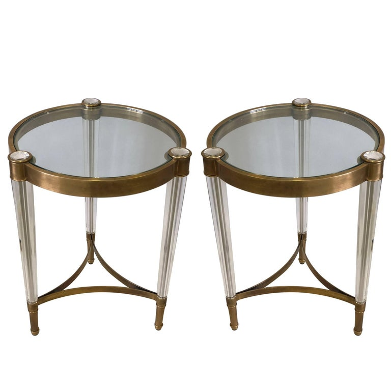 2 Italian Mid-Century Style Solid Brass & Crystal Side Tables, Baccarat For Sale