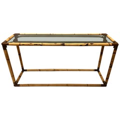 2 Italian Midcentury Bamboo or Rattan and Glass Consoles or Sofa Tables by Banci