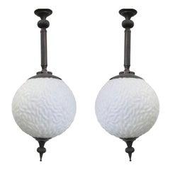 2 Italian Modern Neoclassical Brass & Milk Glass Ball Pendants / Flush Mounts