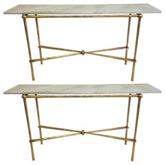 2 Italian Modern Neoclassical Gilt Iron Consoles by Giovanni Banci for Hermes