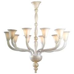 2 Italian Modern Neoclassical Hand Blown White and Gold Murano Glass Chandeliers