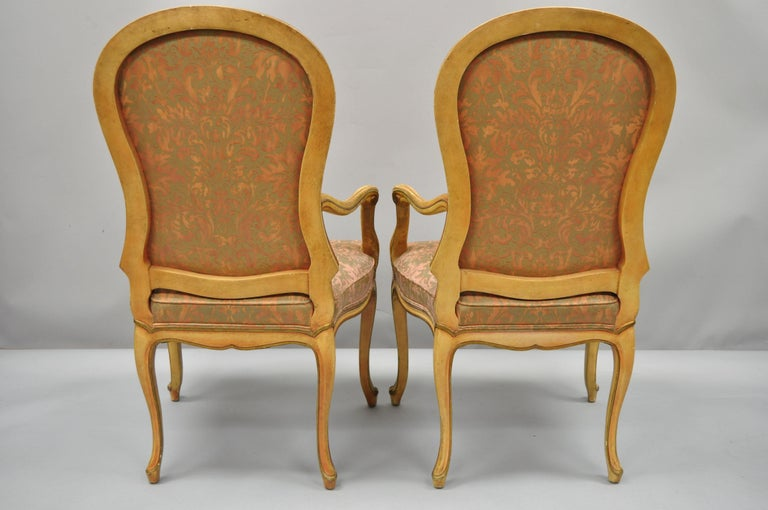 2 Italian Provincial French Hollywood Regency Upholstered Dining Room Armchairs For Sale 5