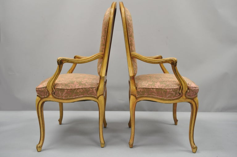 2 Italian Provincial French Hollywood Regency Upholstered Dining Room Armchairs For Sale 6