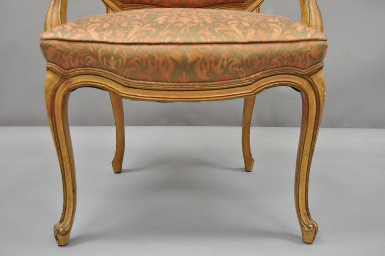 2 Italian Provincial French Hollywood Regency Upholstered Dining Room Armchairs In Good Condition For Sale In Philadelphia, PA