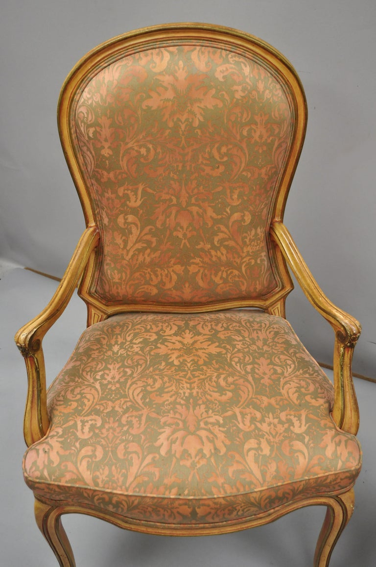 2 Italian Provincial French Hollywood Regency Upholstered Dining Room Armchairs For Sale 2