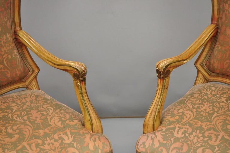 2 Italian Provincial French Hollywood Regency Upholstered Dining Room Armchairs For Sale 3