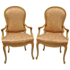 2 Italian Provincial French Hollywood Regency Upholstered Dining Room Armchairs