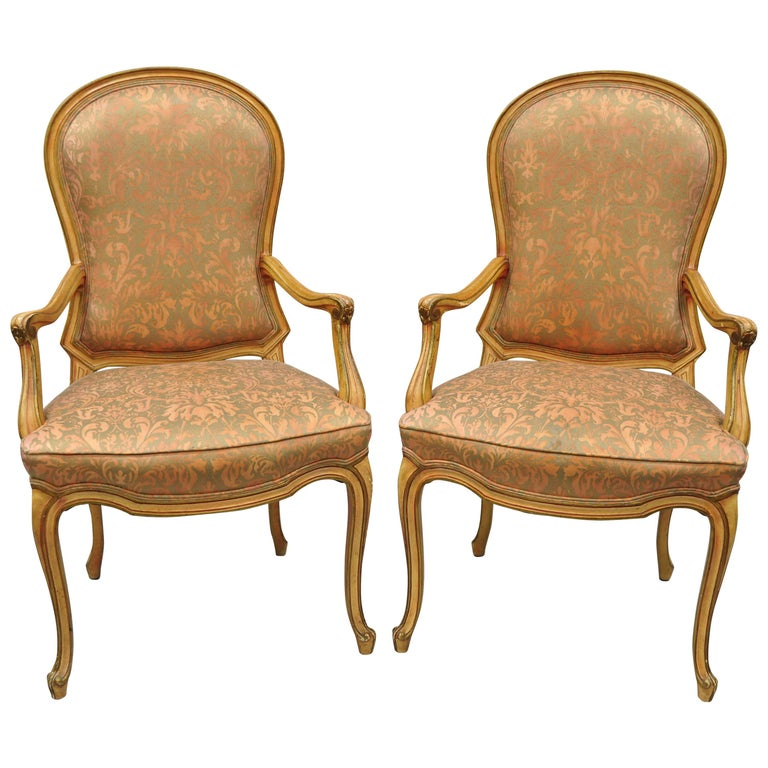 2 Italian Provincial French Hollywood Regency Upholstered Dining Room Armchairs For Sale