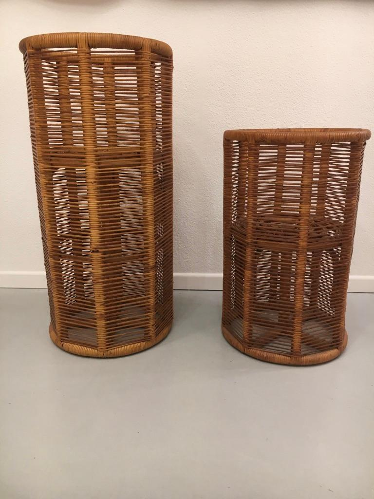 2 rattan Italian planters dated 1975 underneath