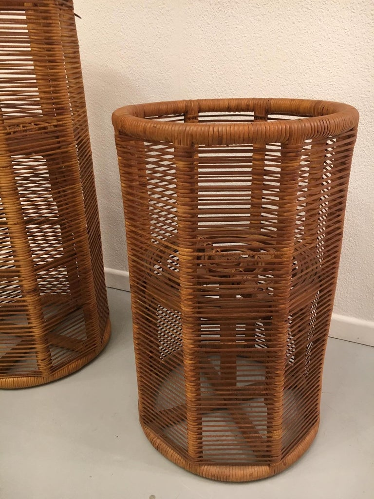 2 Italian Rattan Planters, 1975 In Good Condition For Sale In Geneva, CH