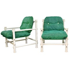 2 Jerry Johnson Landes PVC Outdoor Idyllwild Lounge Chairs Green Mesh Upholstery