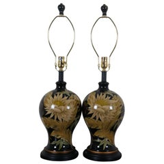 2 John Richard Floral Painted Black Porcelain Table Lamps Chinoiserie Light Pair