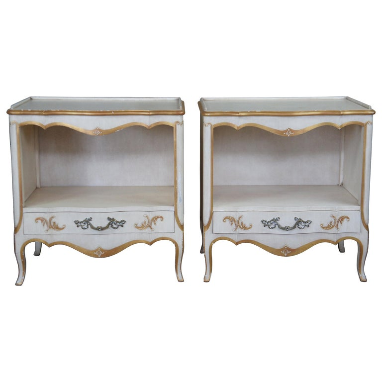 2 John Widdicomb French Provincial Nightstands Bed Side Table Italian Florentine For Sale