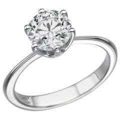 2 Karat 14 Karat White Gold Round GIA Diamond Ring, Classic Cathedral Ring