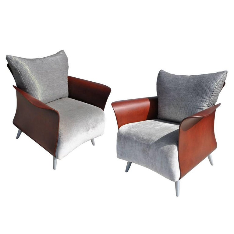 Two Keilhauer Belle Lounge Chairs Bentwood Tom HcHugh For Sale