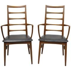 2 Koefoed Hornslet Midcentury Danish Modern Teak Ladder Back Dining Armchairs