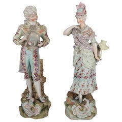 2 Large and Antique German Dresden School Hand Painted & Gilt Porcelain Figures