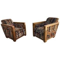 2 Large and Deep Art Deco Mahogany Armchairs, circa 1930