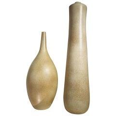 2 Large French Mid-Century Modern Sculptural Ceramic Vases/ Urns, Marius Musarra