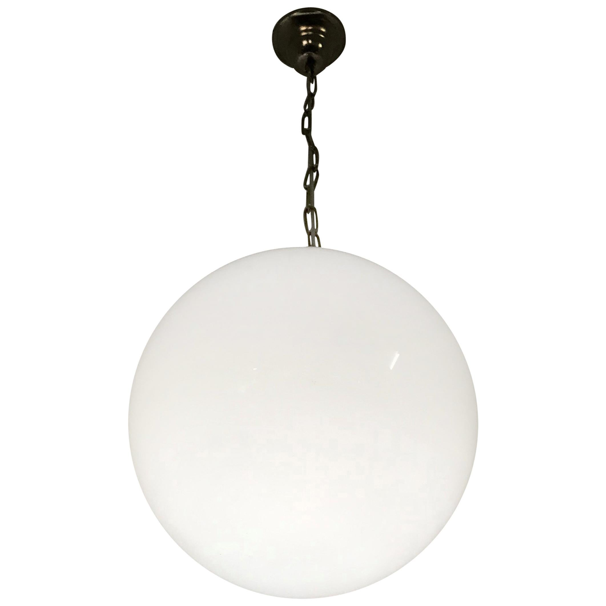 2 Large Mid-Century Modern Murano Opaline Glass Sphere Chandeliers, circa 1970