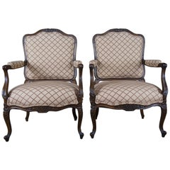 2 Lewis Mittman French Louis XV Fauteuil Arm Chairs Club Accent Provincial