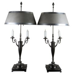 2 Lg Chapman Double Arm Candleholder Bouillotte Candelabra Lamps Nickel Pewter