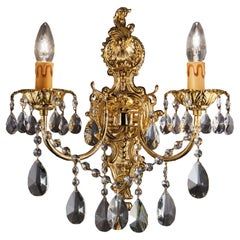2 Lights Artistic Casting Wall Sconce in 24kt Gold Finish and Scholler Pendants