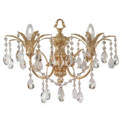 2 Lights Wall Sconce in 24kt Plated Finish with Crystal Pendants by Modenese