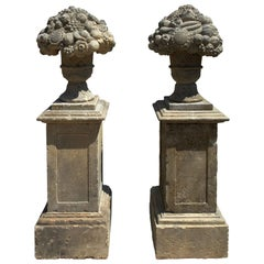 2 Louis XIV Style Fruits-Urns with Pedestal Hand-Crafted in Pure Limestone