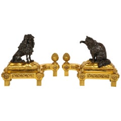 Pair Louis XVI Ormolu Patinated Bronze Dog and Cat Chenets/Andirons, J. Caffieri