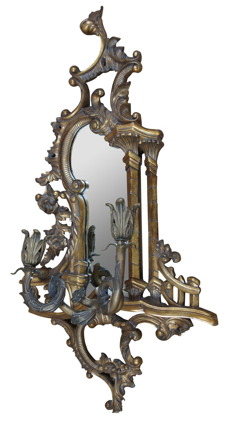 2 Maitland Smith Baroque Rococo Mirrored Wall Sconces Ornate Candleholders In Good Condition For Sale In Dayton, OH