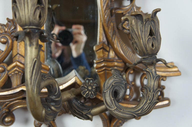 2 Maitland Smith Baroque Rococo Mirrored Wall Sconces Ornate Candleholders For Sale 1