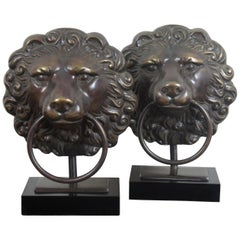 2 Maitland Smith Bronze Lion Head Knocker Buffet Lamps Back Lit Night Light