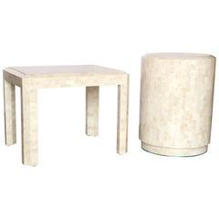 2 Maitland-Smith Ivory & Tan Tessellated Fossil w/ Inlaid Brass Band Side Tables
