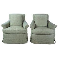 2 Mason Art Modern Geometric Upholstered Swivel Lounge Club Armchairs