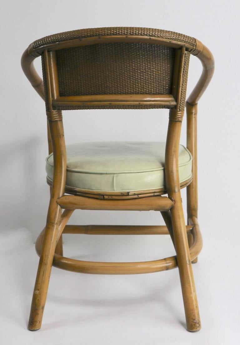 2 Matching Bamboo Arm Chairs Attributed to McGuire For Sale 3
