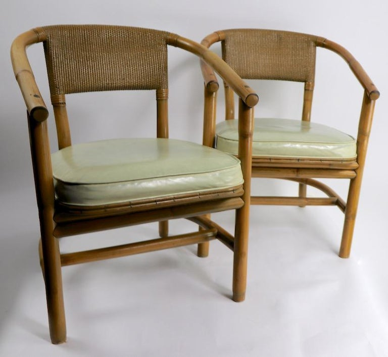 2 Matching Bamboo Arm Chairs Attributed to McGuire For Sale 4