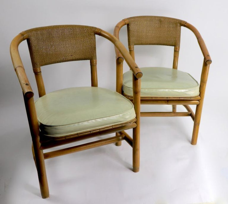 2 Matching Bamboo Arm Chairs Attributed to McGuire For Sale 5