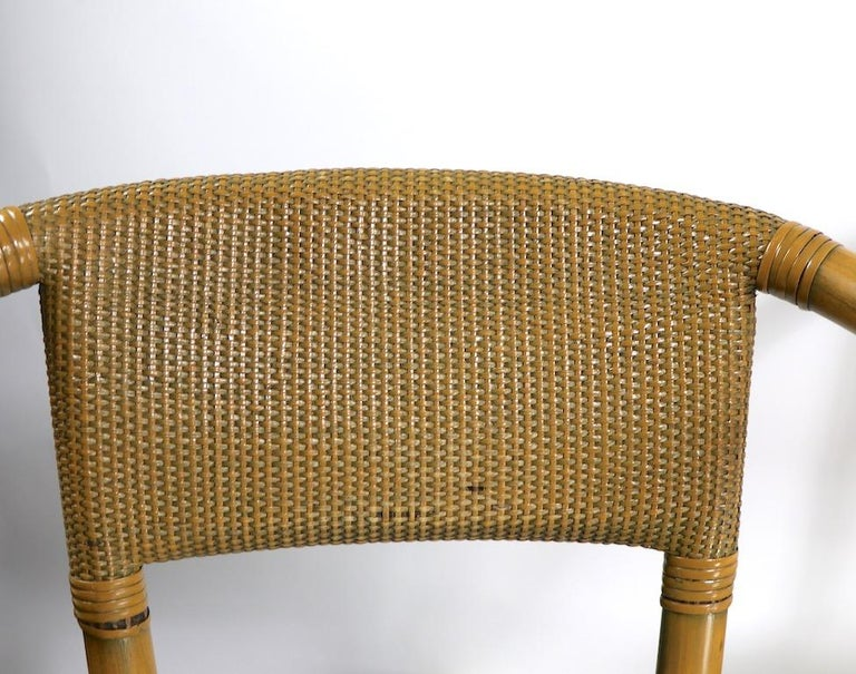 2 Matching Bamboo Arm Chairs Attributed to McGuire For Sale 6