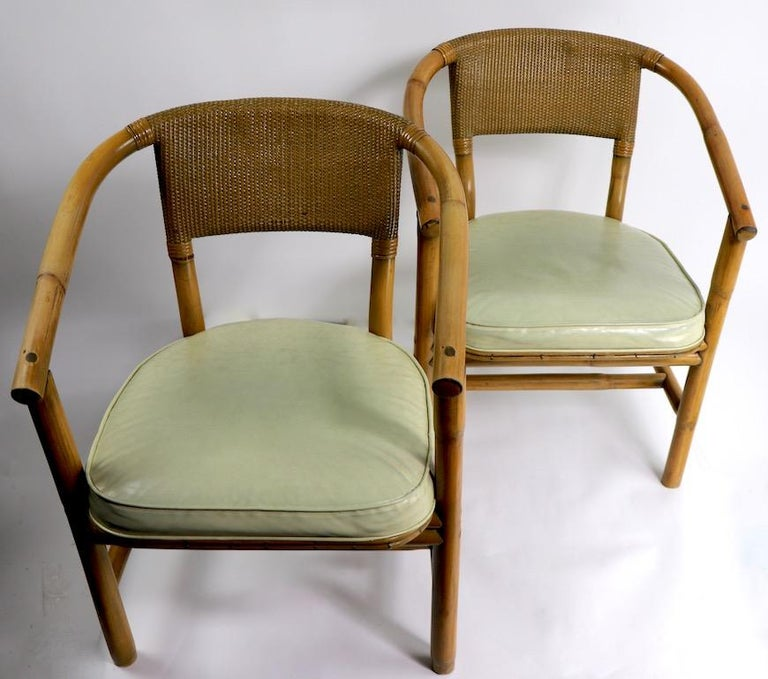 2 Matching Bamboo Arm Chairs Attributed to McGuire For Sale 7