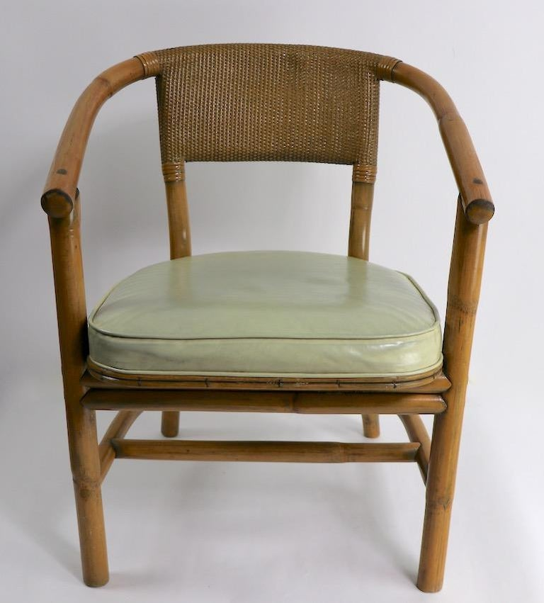 Mid-Century Modern 2 Matching Bamboo Arm Chairs Attributed to McGuire For Sale